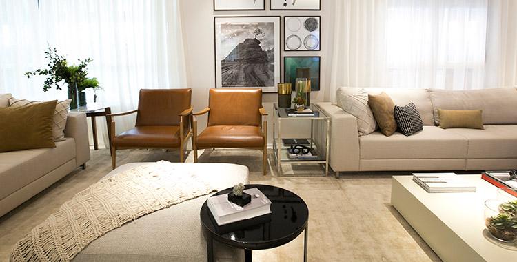 Foto do apartamento decorado do The Garden, um empreendimento Tegra, com diversas texturas na decoração.