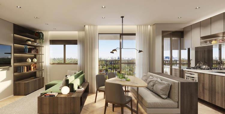Foto da sala de estar de um apartamento moderno decorado