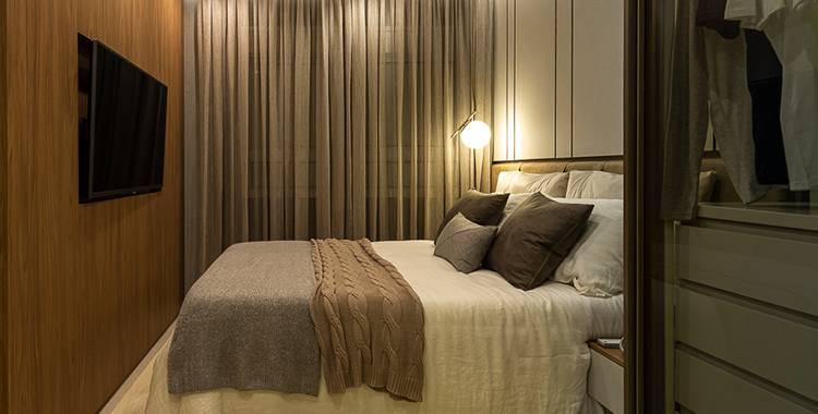 Uma fotografia do apartamento decorado do Brooklin Bricks, um empreendimento Tegra.