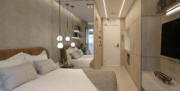 um quarto com móveis planejados de um empreendimento da tegra