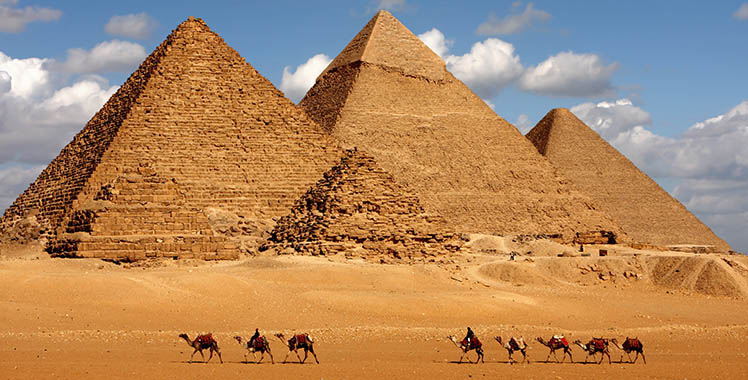 Fotografia das 3 pirâmides do Egito