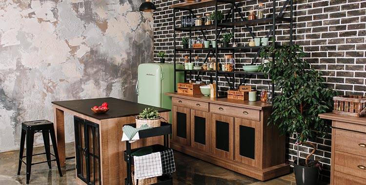 Estantes e bancadas com estilo industrial na cozinha