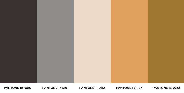 Paleta 5 cores escuras da Pantone