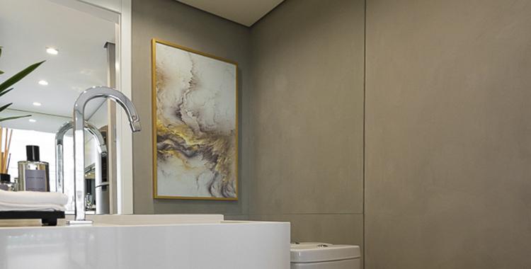 Uma fotografia do lavabo do apartamento decorado do universo tatuapé.