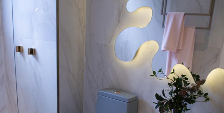 Uma fotografia do lavabo do apartamento decorado do Gravura perdizes.