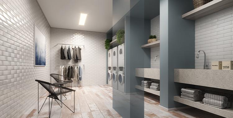 Perspectiva ilustrada da lavanderia do Quad Studios, um empreendimento Tegra.