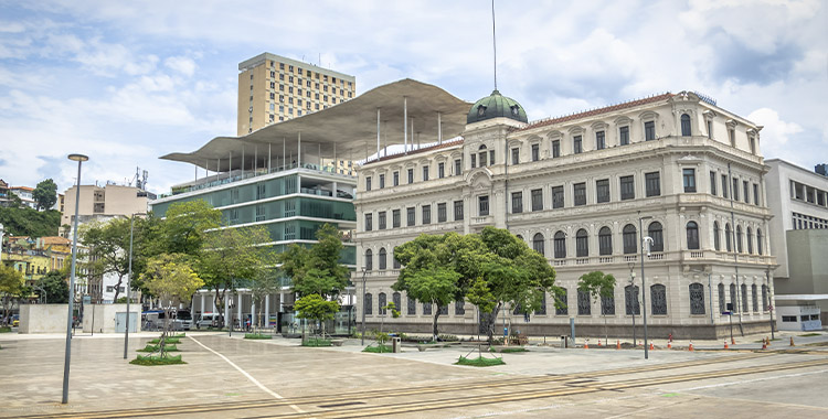 Uma fotografia que ilustra o museu de arte no Rio de Janeiro