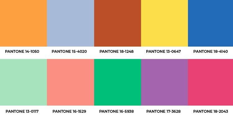 Paleta Pantone das 10 cores que mais se destacam
