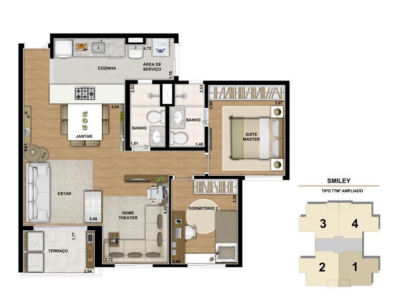 Planta ilustrada do apartamento de 77m² com living ampliado - Opção decorado