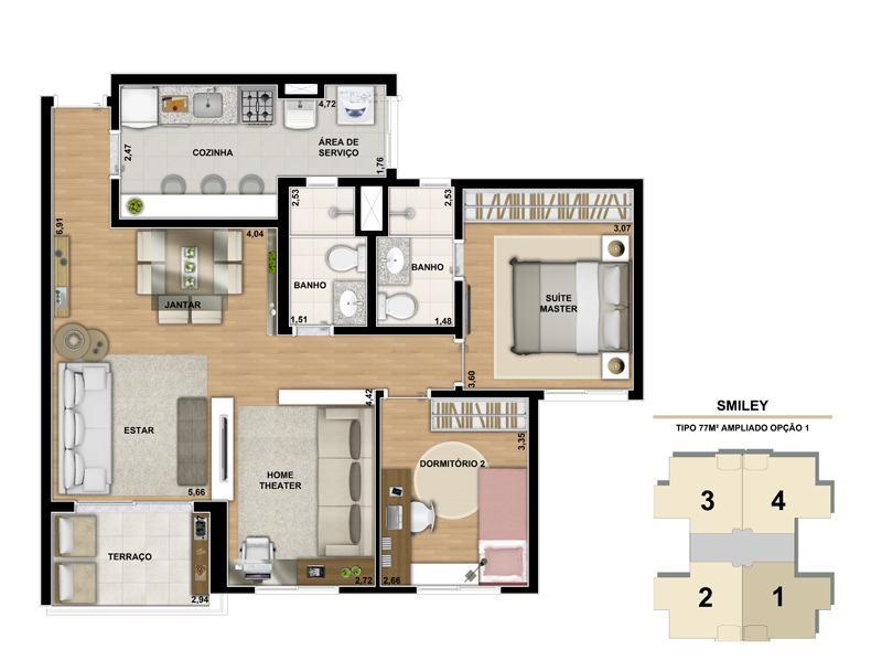 Planta ilustrada do apartamento de 77m² com living ampliado