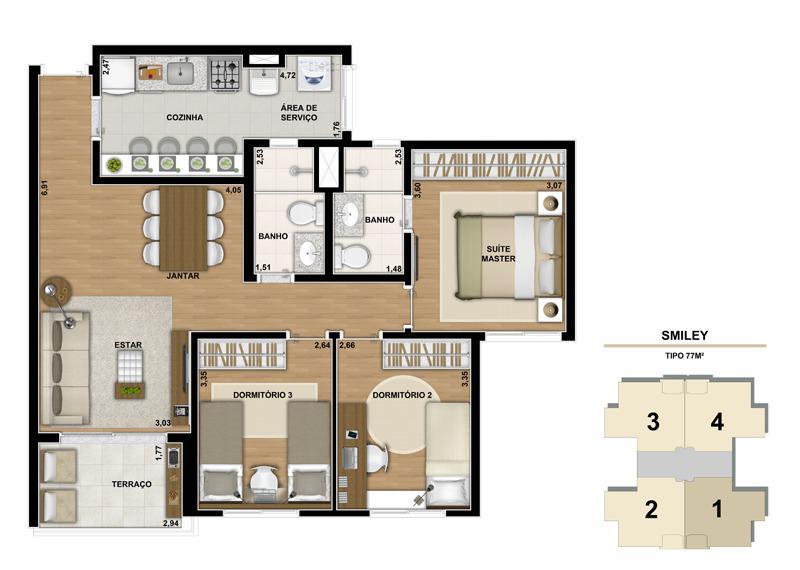 Planta ilustrada do apartamento de 77m2