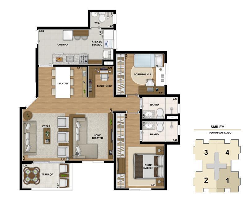 Planta ilustrada do apartamento de 91m² com living ampliado