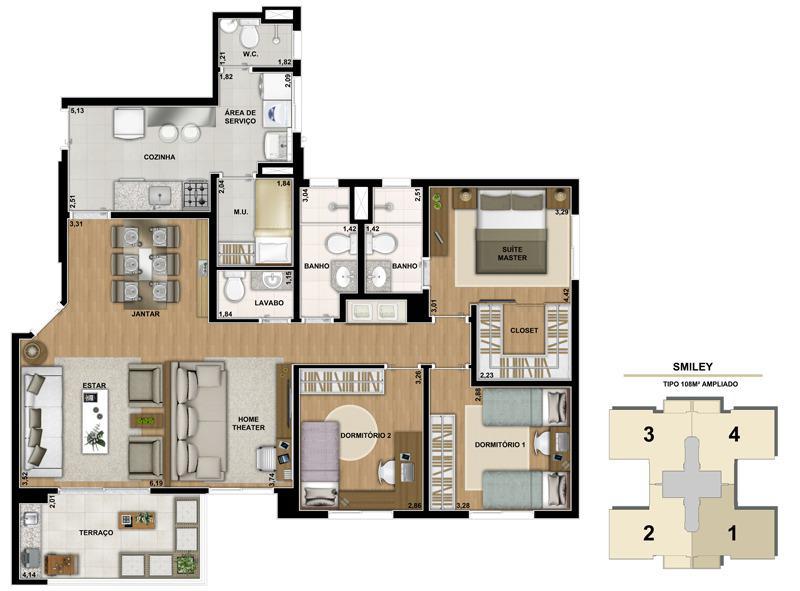 Planta ilustrada do apartamento de 108m2 com living ampliado