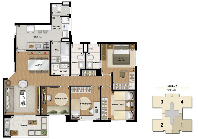 Planta ilustrada do apartamento de 108m2