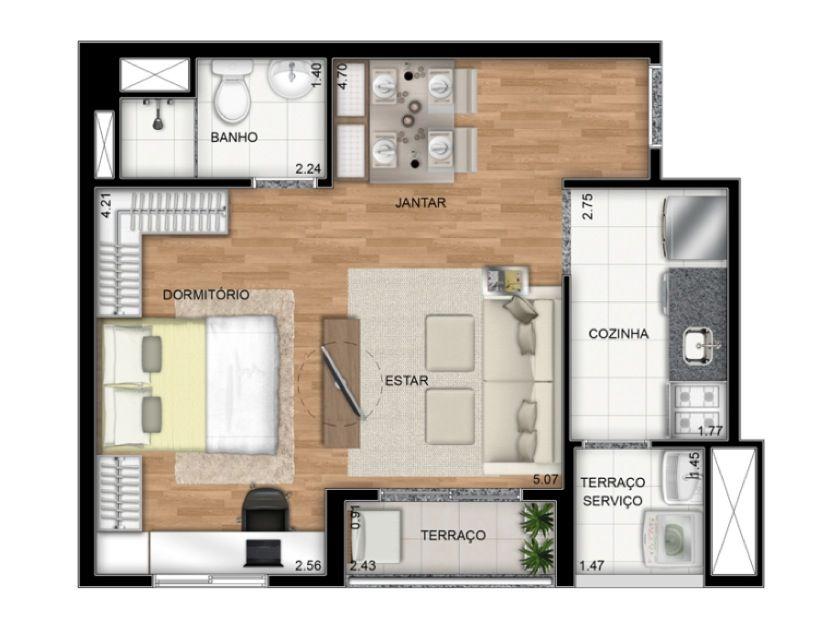 Planta Ilustrada do apartamento Tipo C de 37 m2 - Dormitório integrado ao living