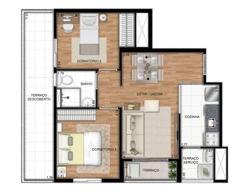Planta Ilustrada do apartamento Tipo D de 55 m2