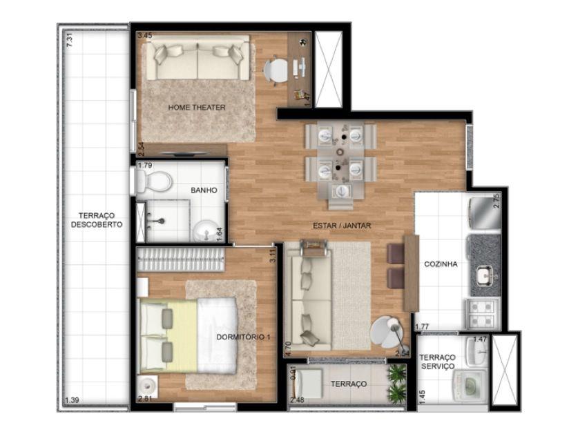 Planta Ilustrada Tipo D de 55 m2 - Oopção living ampliado
