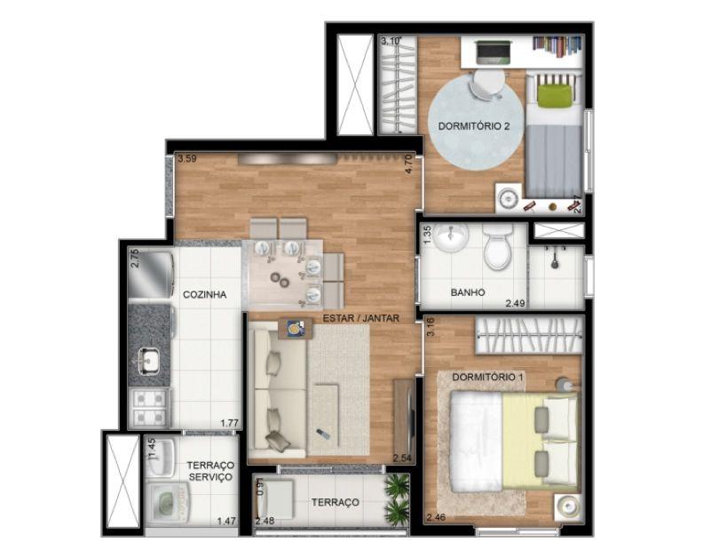 Planta Ilustrada do apartamento Tipo E de 42 m2