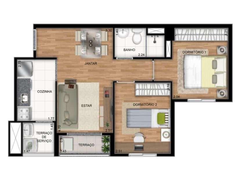 Planta Ilustrada do apartamento tipo B de 45 m2