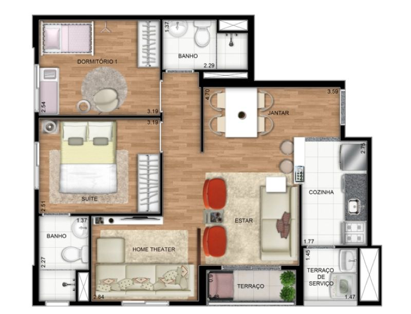 Planta Ilustrada do apartamento Tipo A de 55 m2 - Opção living ampliado