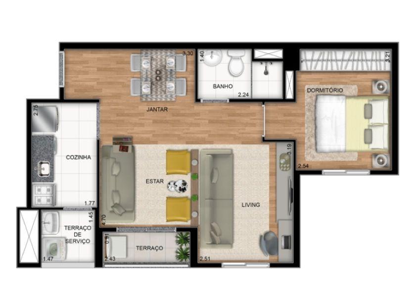 Planta Ilustrada Tipo B de 45 m2 - Opção lliving ampliado