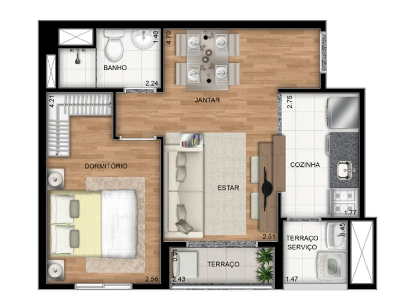 Planta Ilustrada do apartamento Tipo C de 37 m2