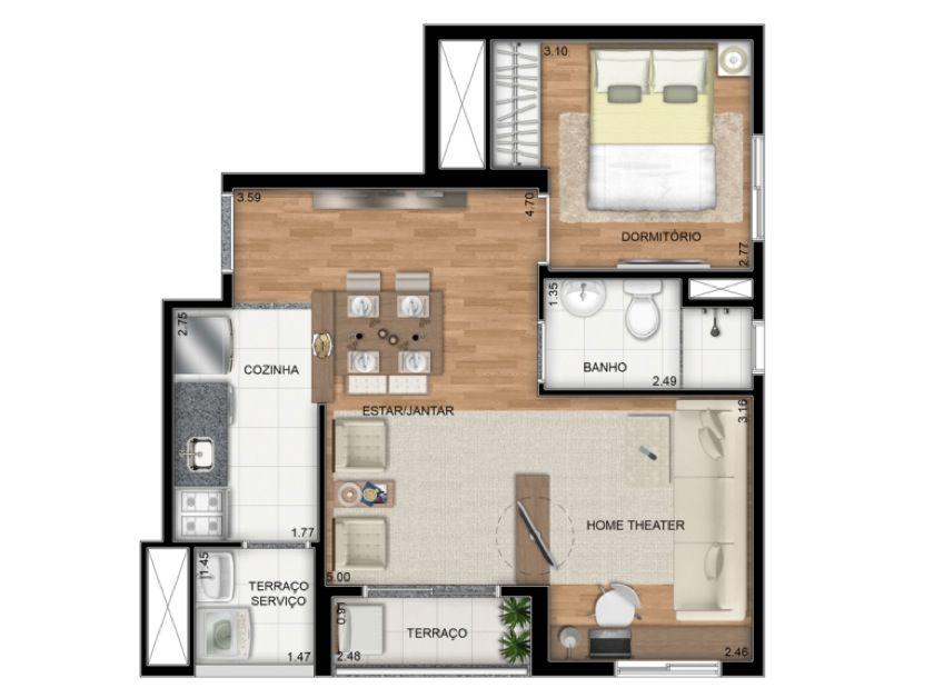 Planta Ilustrada do apartamento Tipo E de 42 m2 - Opcão living ampliado