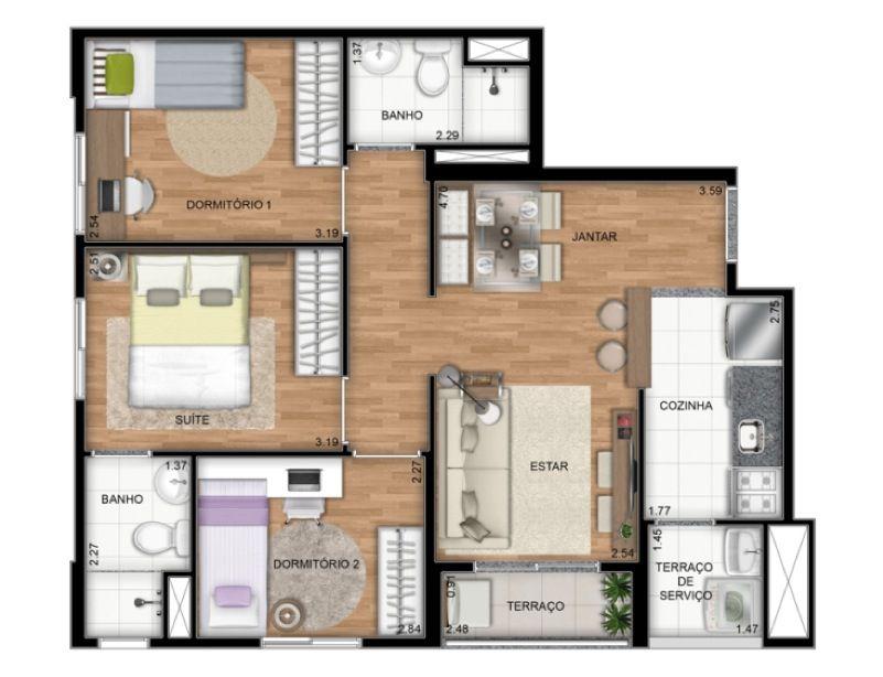 Planta Ilustrada do apartamento tipo A de 55 m2