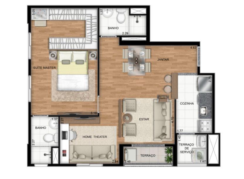 Planta Ilustrada do apartamento Tipo A de 55 m2 - Opção suíte máster