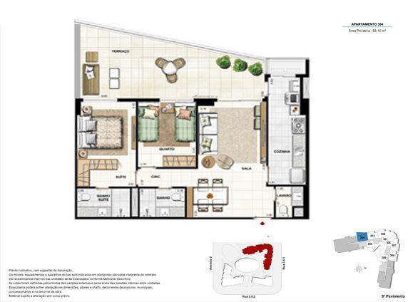 2 quartos com suíte e terraço - apt 304 - 92,10m²