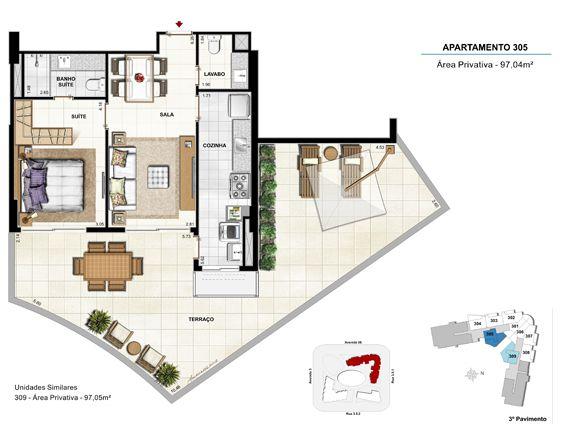 Quarto e sala com terraço - apt 305 - 97,04m²