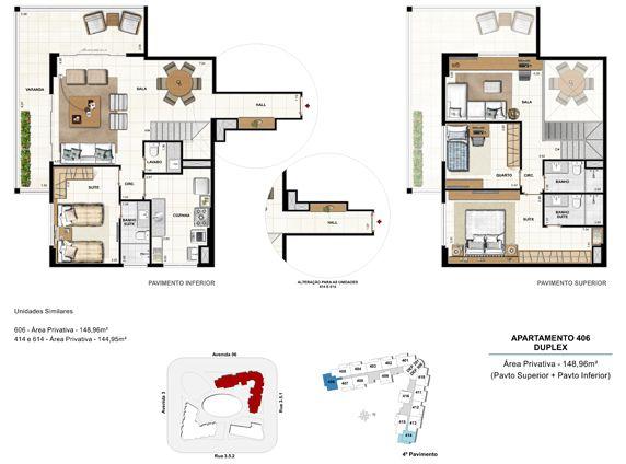 3 quartos com 2 suítes duplex - apt 406 - 148,96m²