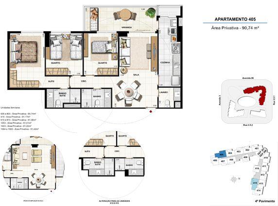 3 quartos com suíte - apt 405 - 90,74m²