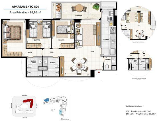 3 quartos com suíte - apt 506 - 96,70m²