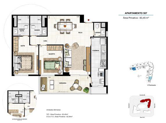 2 quartos com suíte - apt 507 - 83,45m²