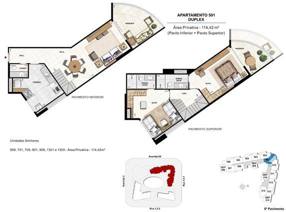 2  suítes duplex - apt 501 - 114,42m²