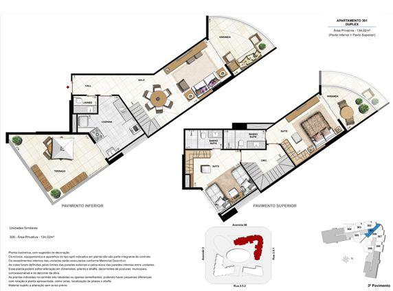 2 suítes duplex com terraço - apt 301 - 134,02m²