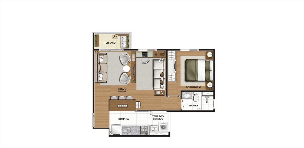 Planta do Apartamento 47m - Living Ampliado