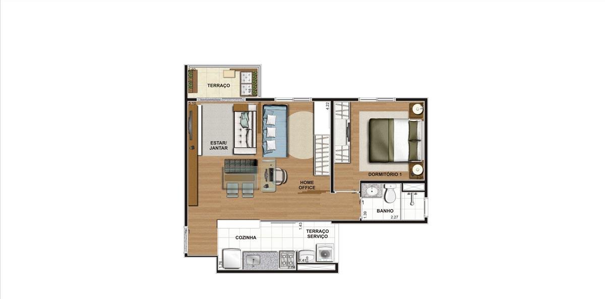 Planta do Apartamento 47m - Sugestão Decoração