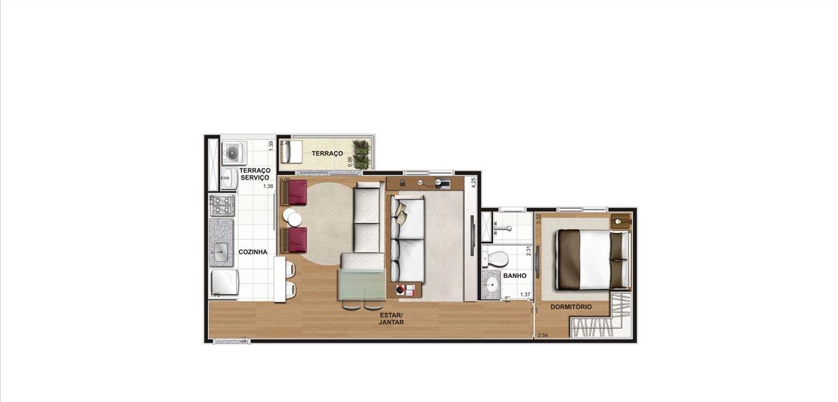 Planta do Apartamento 45m - Living Ampliado