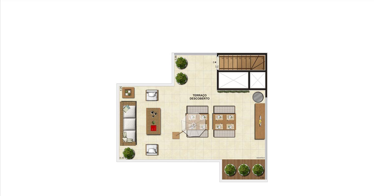 Planta do Apartamento Cobertura 94m - Sup