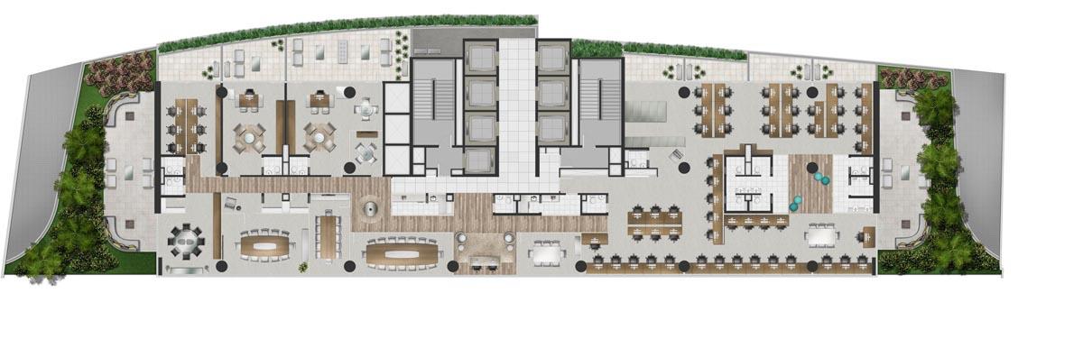 Planta do andar inteiro no Nível praça de convivência - 994m² priv.