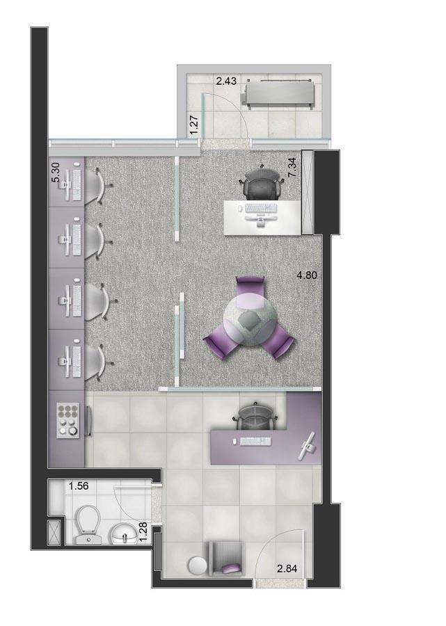 Planta da sala comercial de 38m² priv.