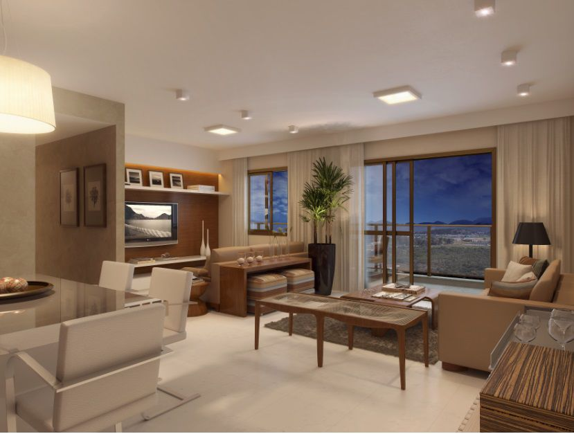 Perspectiva ilustrada da sala de estar ampliada