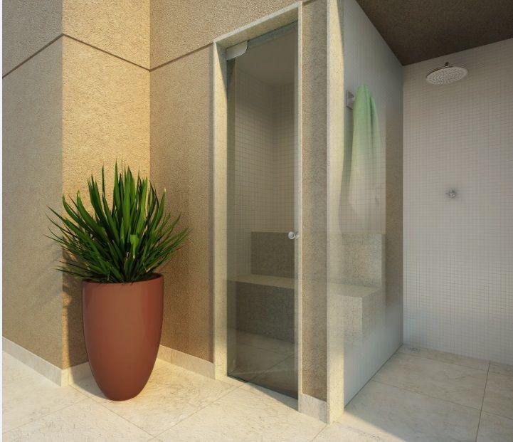 Perspectiva ilustrada da sauna exclusiva com blindex e ducha**