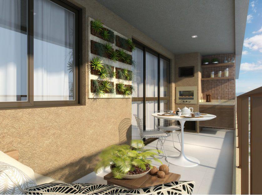Perspectiva ilustrada da varanda dos apartamentos tipo