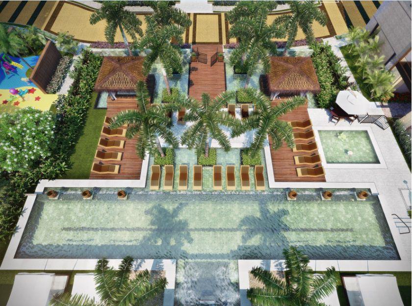 Perspectiva ilustrada da vista das piscinas