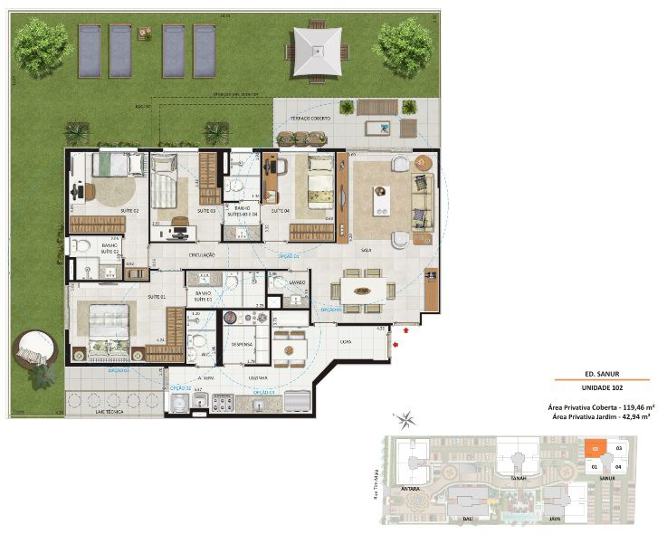 Planta da unidade 102 - Ed. Sanur. Área privativa total: 162,40m²