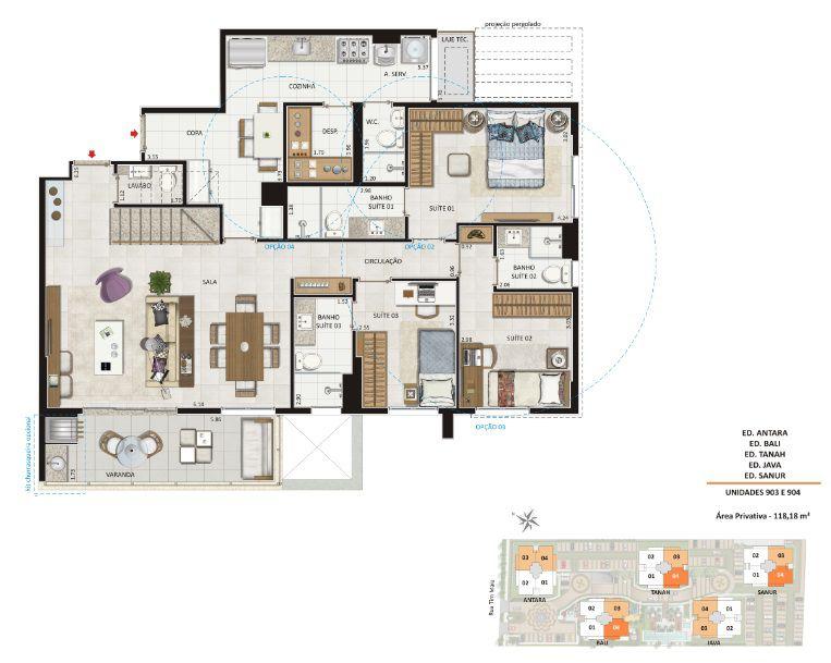 Planta das unidades 903 e 904 - Todos os edifícios. Área privativa: 118,18 m²