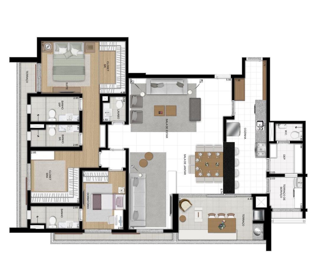 Apartamento de 157m² privativos - 2 suítes - sala ampliada com Cozinha americana